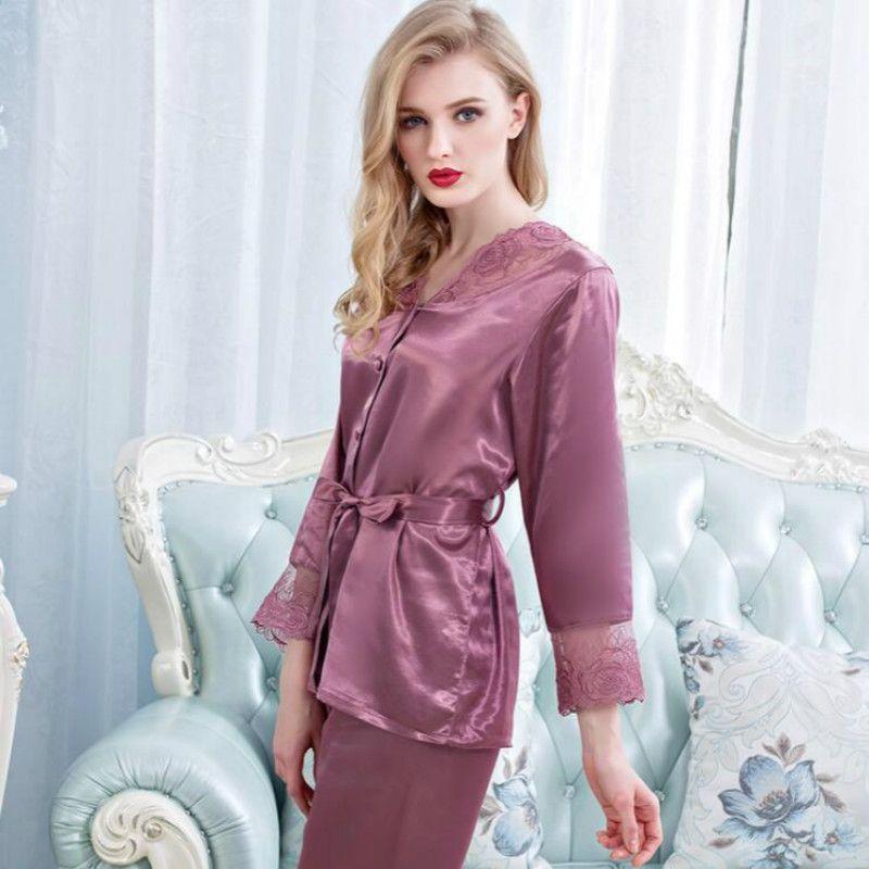 Womens Silk Satin Pajamas Set Pajama Pyjamas Set Sleepwear ... 7fd245eb0e712