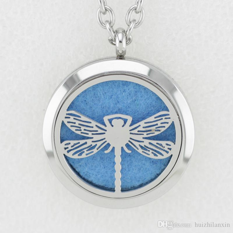 Silver Dragonfly 30MM Essential Oil Diffuser Perfume Locket Necklace Pendant Dolphin 316L Stainless Steel Necklace Pendant With Chain