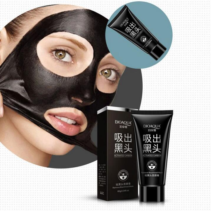 BIOAQUA Marca Face Care Aspirazione Maschera Nera Maschera Facciale Naso Rimozione di Comedone Peeling Peel Off Testa Nera Trattamenti l'acne 60g DHL libero