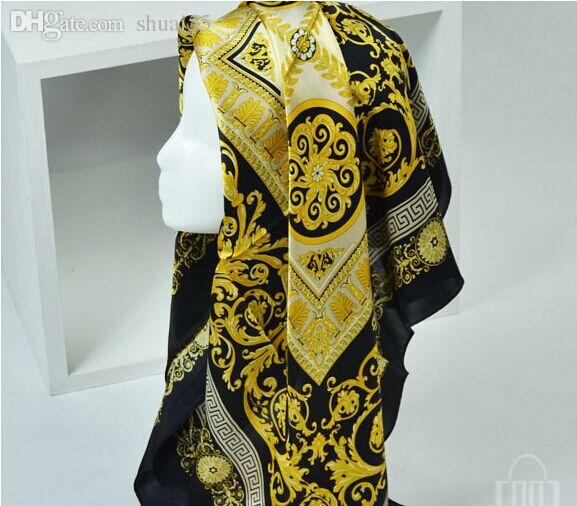 92ee4c3a18c3c 2019 Famous Style 100% Silk Scarves Of Woman And Men Solid Color Gold Black  Neck Print Soft Fashion Shawl Women Silk Scarf Square Silk Scarf Head Scarf  From ...