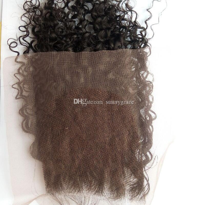 curly human hair closure piece malaysian hair kinky tight curly lace front closures real human hair
