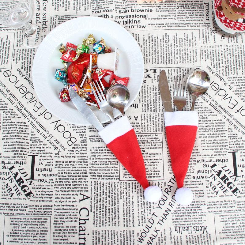 wholesale christmas gifts kitchen tableware holder pocket dinner cutlery bag party christmas table decoration cutlery sets christmas hat cutlery bag table
