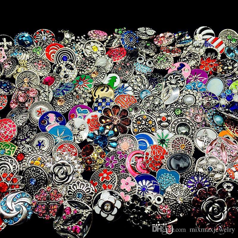 Commercio all'ingrosso / Bulk Lotto Stili di Mix Stili Ginger Moda 18mm Metallo Strass FAI DA TE Snaps Button Snap Gioielli Brand New
