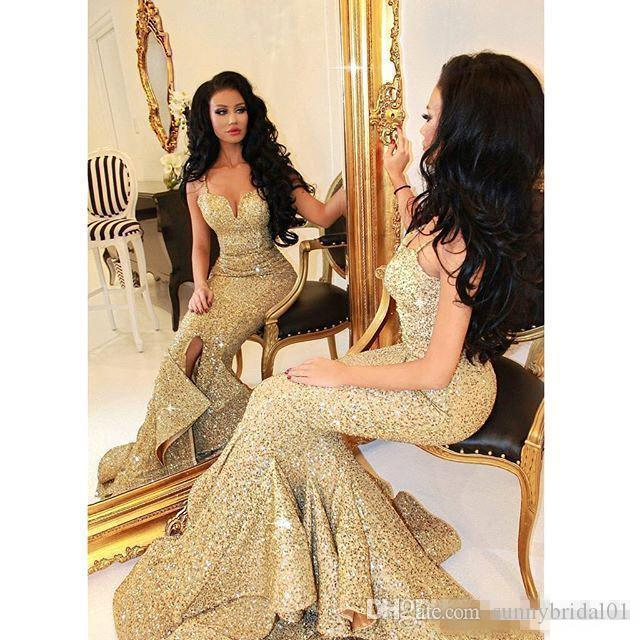 New Designer Bling Gold Sequins Mermaid Prom Dresses 2017 Spaghetti Open Back Ruffles Sweep Train Evening Gowns Pageant Dress Formal BA1086