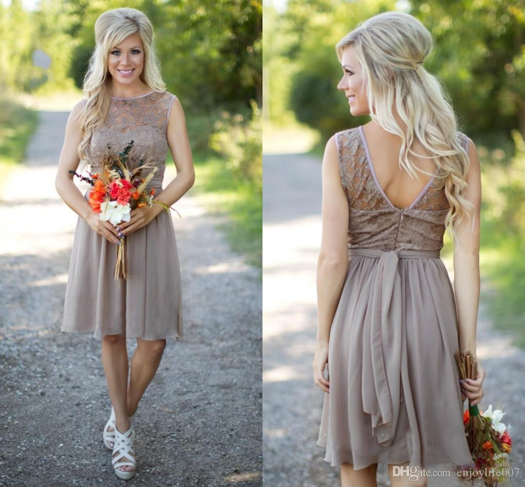 2017 Hot Champagne Country Style Bridesmaid Dresses Jewel Neck