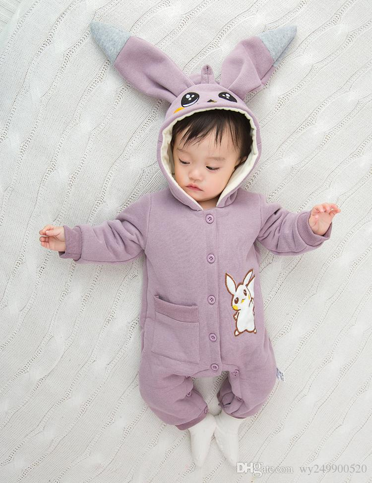 651804be4 Hot Baby Autumn And Winter Embroidery Hooded Cartoon Rabbit Plus ...