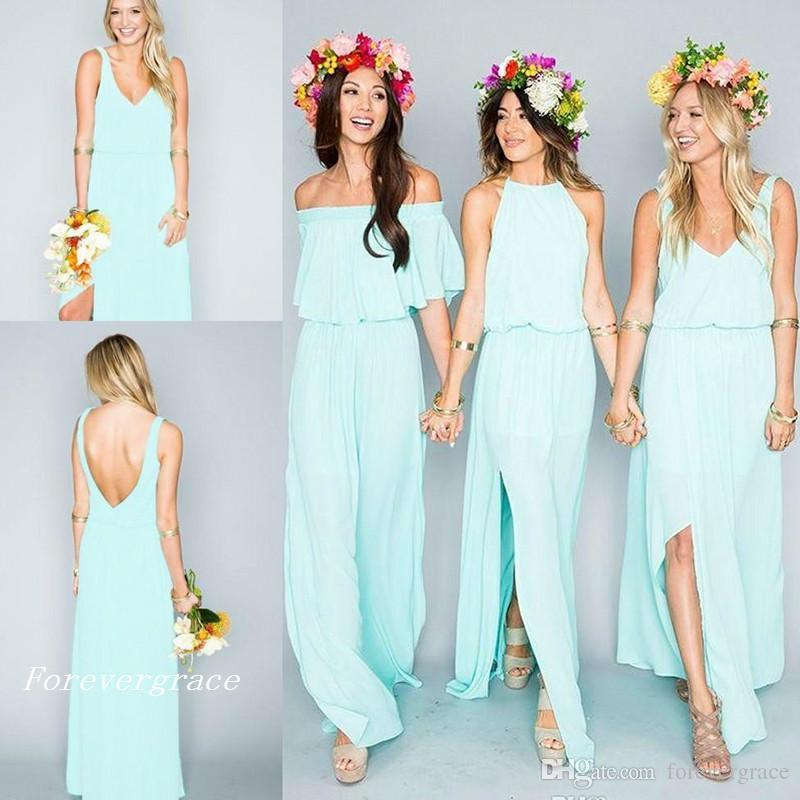 Grosshandel Strand Bohemian Country Style Brautjungfer Kleid Sommer