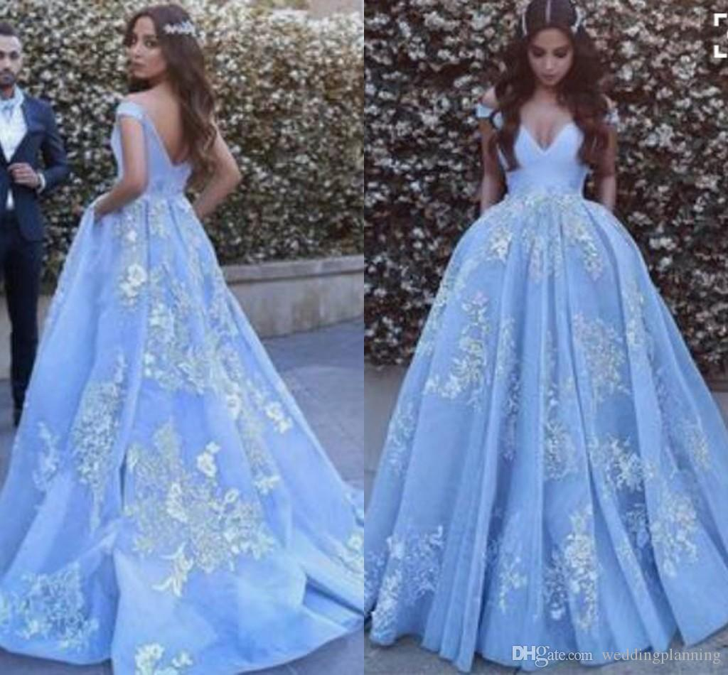 Lace Ball Gown Light Blue Prom Dress Backless Tulle Applique Off ...