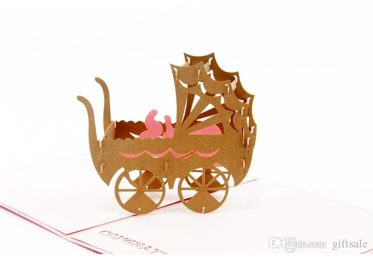 Baby shower Pink blue baby car kirigami origami paper arts and crafts 3d laser cut birthday invitation postcards greeting cards