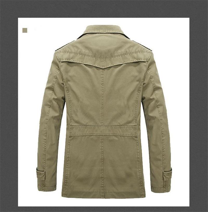 Europa VS Rusland Tij Mannen Revers Hals Pocket Button Trench Coat Green Katoen Mix Lange Stijl Knoppen Patchwork Vestidos Casual Bovenkleding