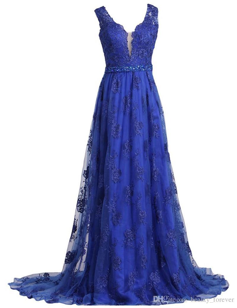 V Neck Evening Dresses vestidos de noiva long prom dresses with Appliques Sweep Train Lace Beaded