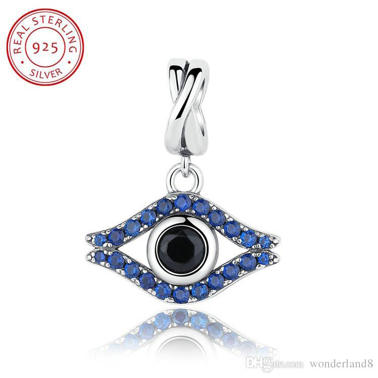 Blue Evil Eye Charm Solid 925 Sterling Silver Lucky Bead Charms for European Bracelet Necklace tnSX1N