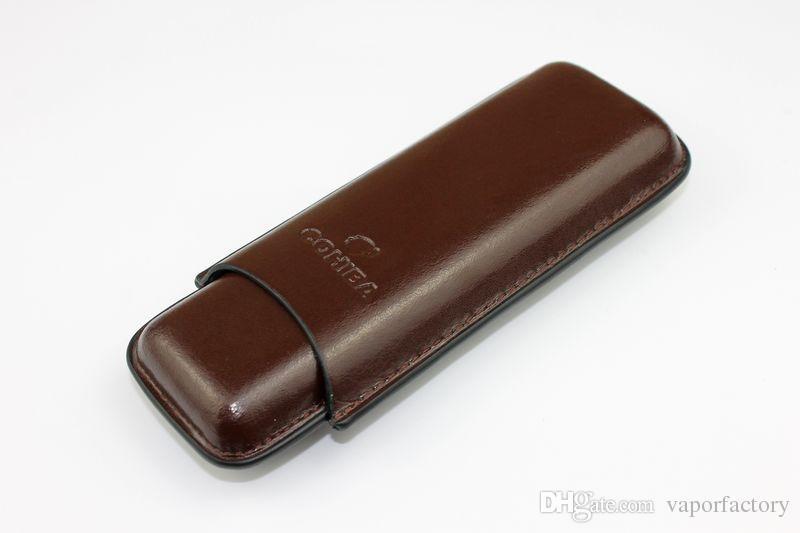 Pochette en cuir de cigache Humidor Tabac Tuyau de cigarette Double tube de cigare Voyage Porte-boîtiers de transport 2 Couteau à cigares