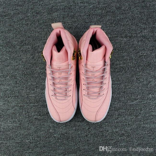 2018 neue Frauen Basketball Schuhe 12 GS Wolf grau leuchtend rosa XII 12s läuft Damen Sport Schuh Frau lässig Designer Sneaker
