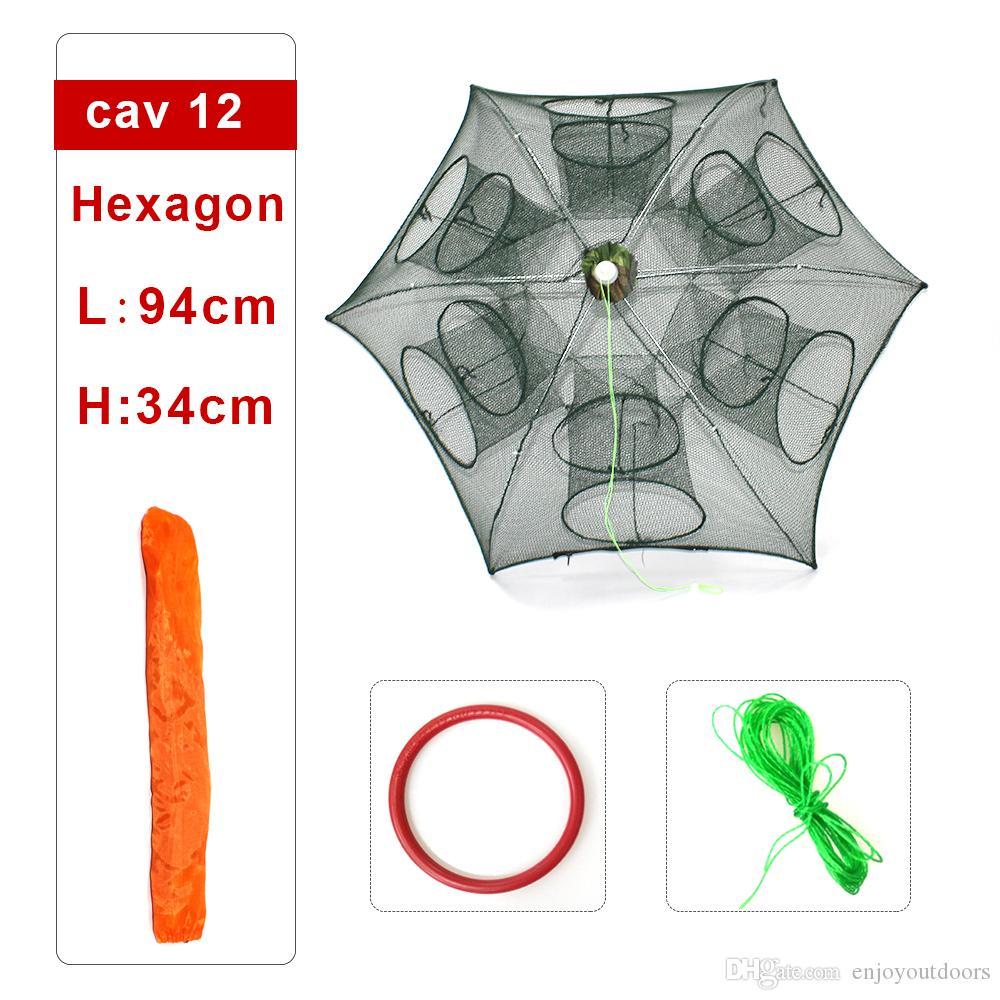 Shaddock Fishing Net Shrimp Cage Nylon Foldable Crab Fish Trap Cast Net Cast Folding Fishing Network 6/8/12/16