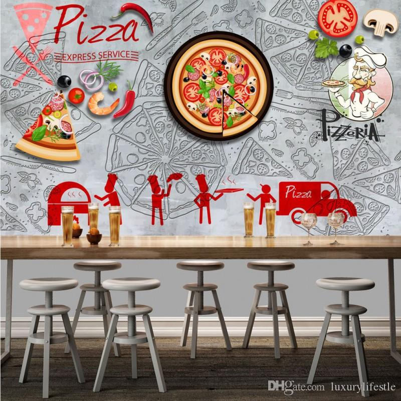 3d Stereo Pizza Shop Tooling Background Wall Decoration