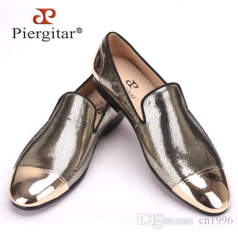 PIERGITAR 2017 New Arrive Handmade Men Three Color Bright Sheepskin Shoes  with front And Back Metal Weeding And Prom Men Loafers 70265fa09848