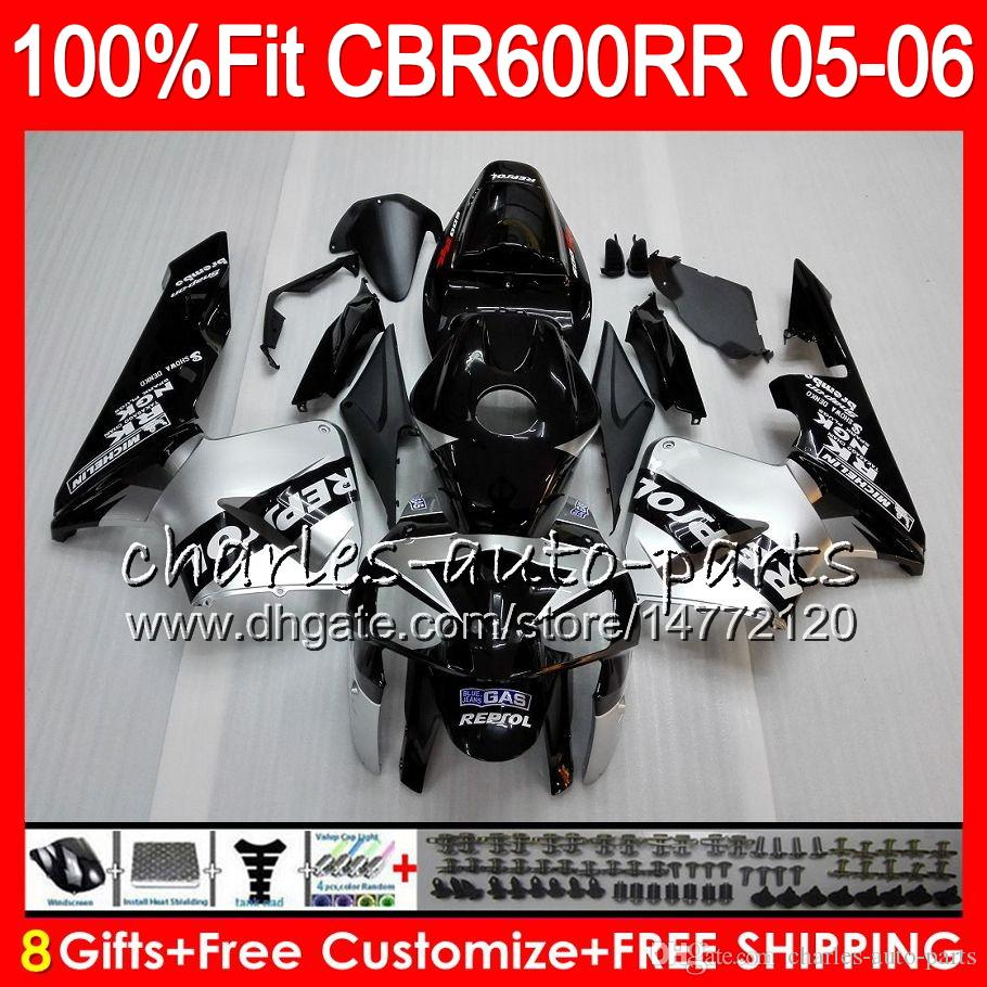 8Gifts 23Colors Injection For HONDA CBR 600 RR CBR600RR 05 06 44HM6 Repsol silver CBR 600RR F5 03 04 CBR600F5 CBR600 RR 2005 2006 Fairing