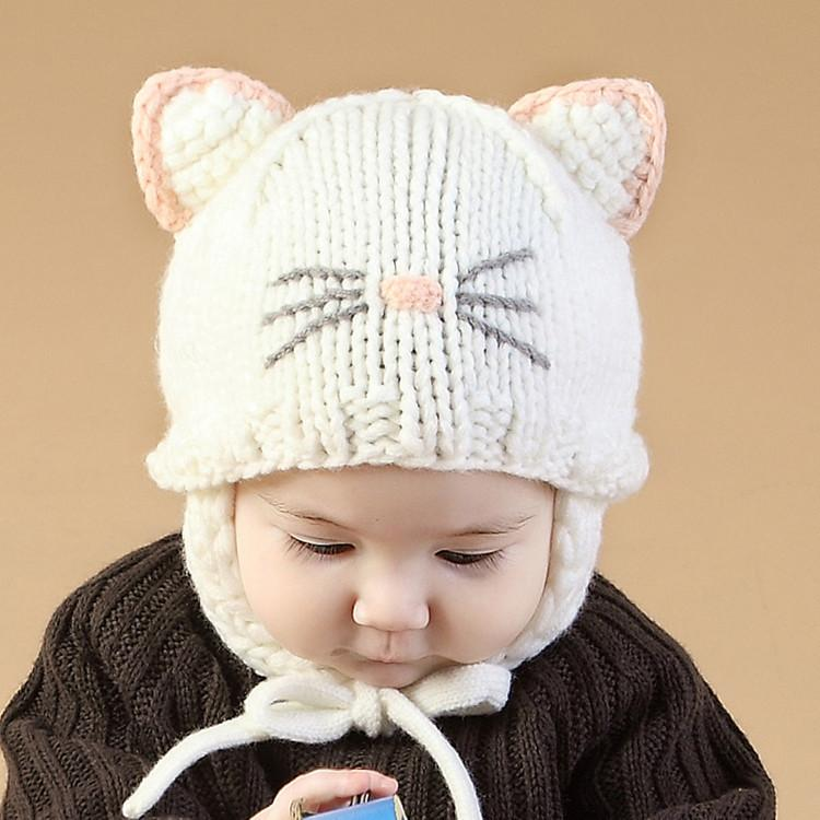 Cartoon Cat Ear Toddler Hats Winter Milk Baby Caps Warm Knitted Newborn Hats Infant Beanies Skullies