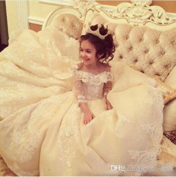 Роскошные милые платья для девочек-новорожденных 2020 New Off the плечо Прозрачное кружевное платье с длинными рукавами и блестками Цветочные платья для девочек Корсет Назад