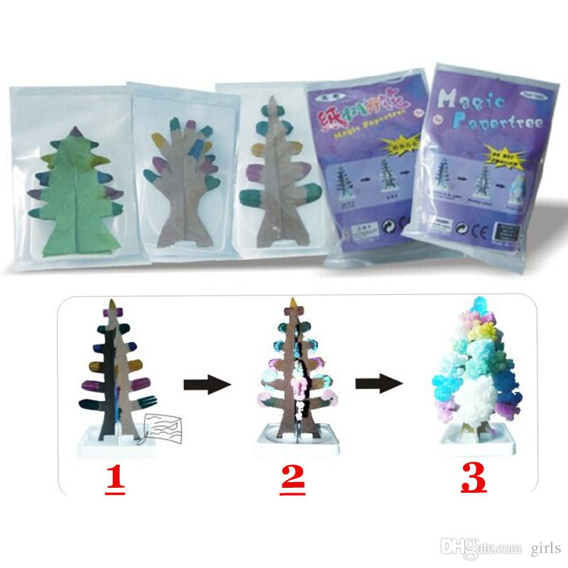 2017 Ful Christmas Tree Novelty Magic Growing Paper Xmas Toys  - Magic Christmas Tree