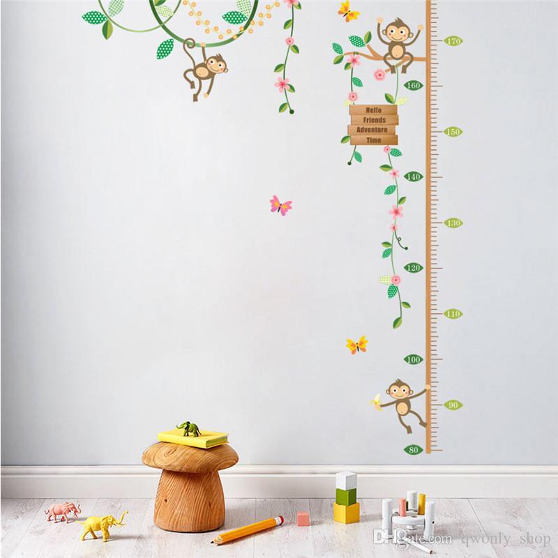 Monkeys Height Measure Wall Stickers For Kids Rooms Butterfly Garden fence flower baseboard sticker Nursery Room Decor Poster
