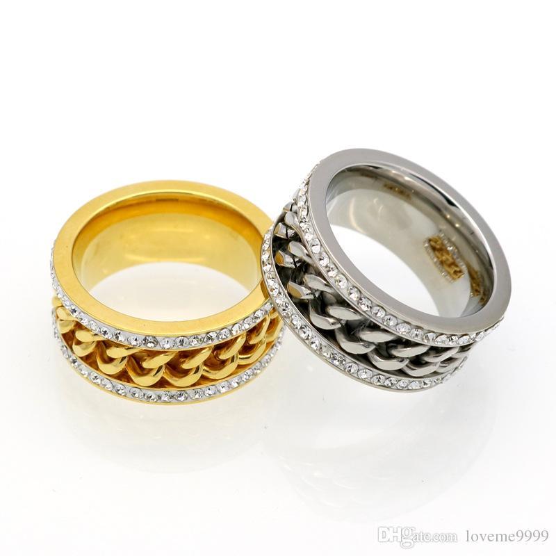Top Qualtiy Edelstahl zwei Reihe Strass Kette Ringe für Männer Frauen edlen Schmuck Luxus Bling Gold Silber Fingerring