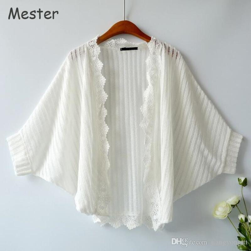 2018 Japanese Sweet White Lace Cardigan Summer Batwing Sleeve ...