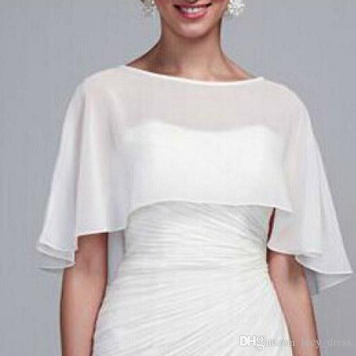 Baratos Chiffon Wedding Wraps Nupcial Wraps / Chaquetas Simple Plus Size Wedding Bolero Accesorios de la boda
