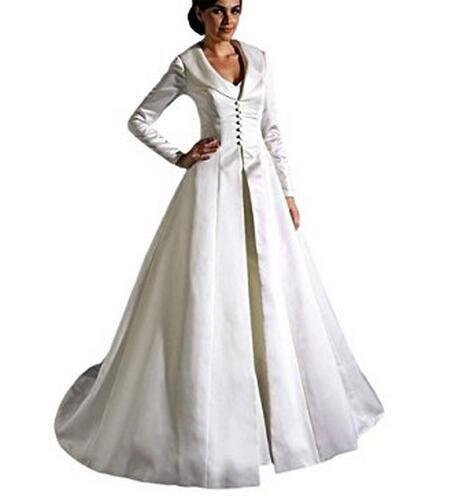 Toptan Uzun Kollu Düğün Cape Kat Uzunluk Gelin Cloak Custom Made Düğme Ön Fildişi Düğün Cloak