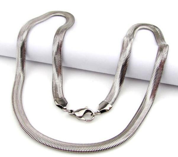 """Wholesale High Quality Width 3mm Lady's 316L Stainless Steel Silver Color Slim Flat Snake Soft Flexible Chain Necklace,450mm or 18"""" inches"""