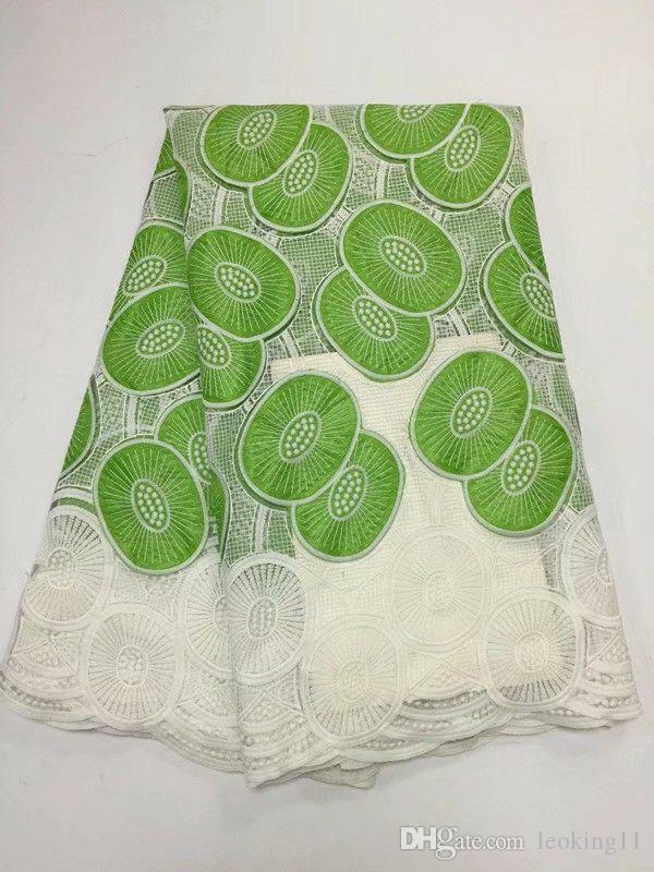 5 Yardas / pc Nueva moda tela de algodón africano blanco y verde bordado de gasa de encaje para la ropa BC152-3