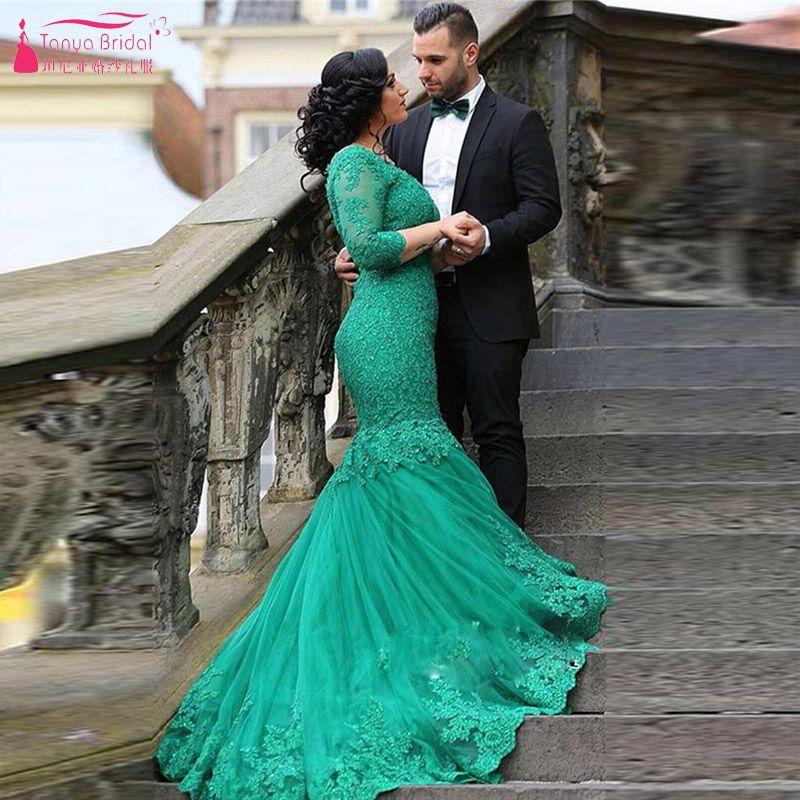 Green Lace Wedding Dresses
