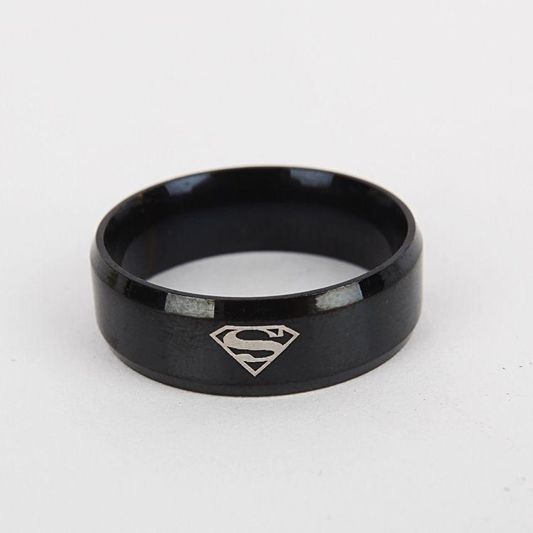 Superman ring titanium stainless steel Men Ring Superman Logo Finger Rings Jewelry Fashion RING