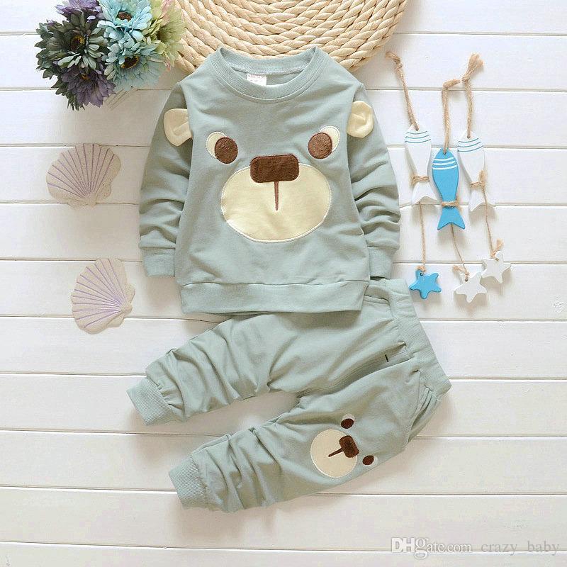 2 ADET Bebek Boys Giyim Kıyafet Bebek Erkek Çocuk Gömlek Tops + Pantolon Rahat Giyim Sonbahar Çocuk Giyim 1-4Years