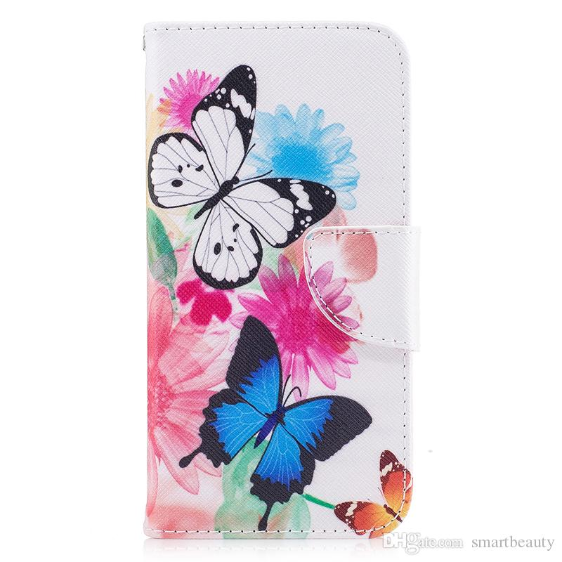release date: 14c0e 14eeb For iPhone X Cover Painted PU Leather Cases Flip wallet Card Stents holster  Double Butterfly Designer Phone Covers
