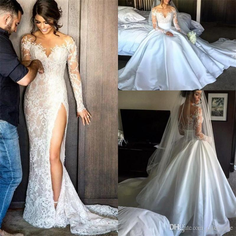 Side Split Lace Wedding Dresses With Detachable Skirt