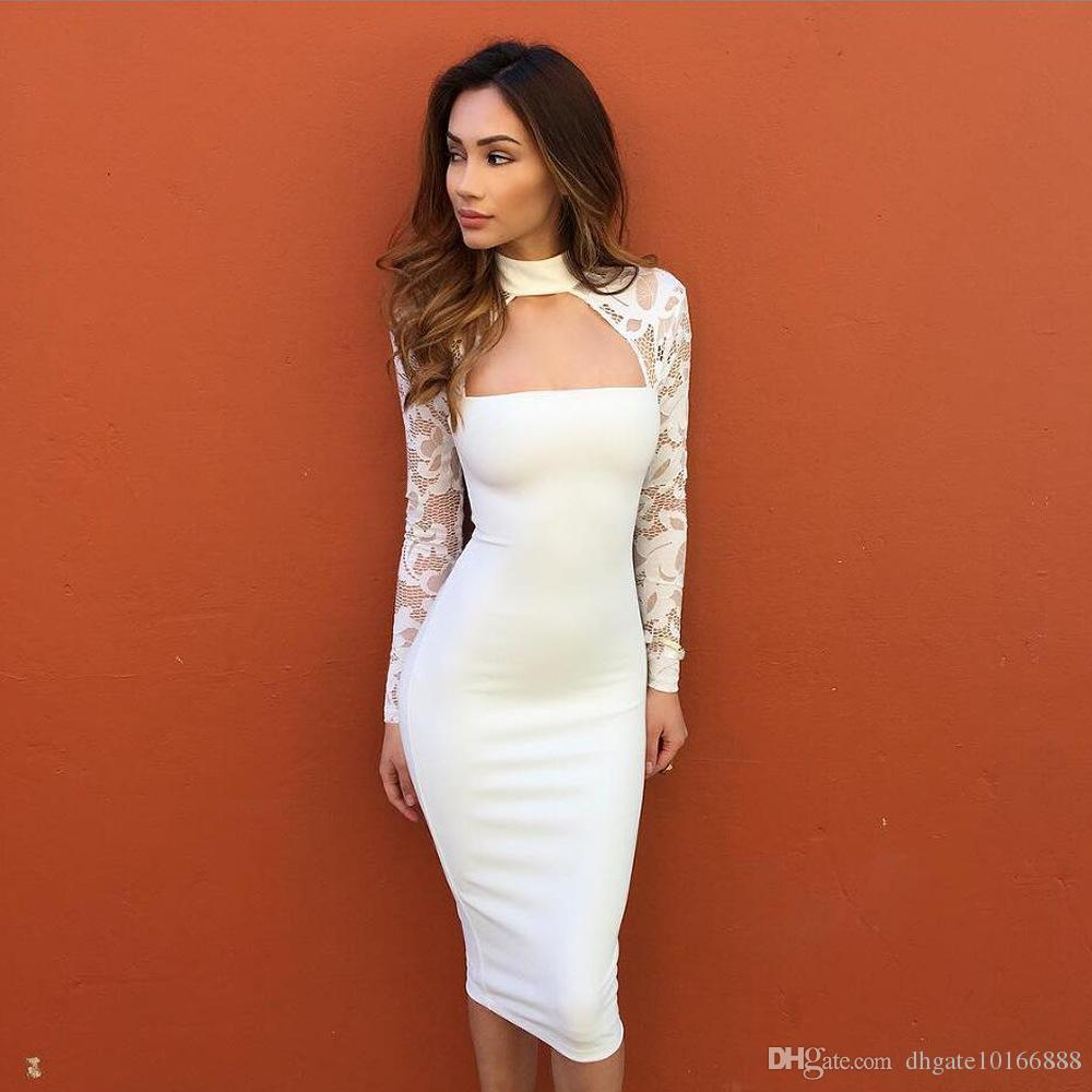 2017 new European and American lace long sleeves nightclub sexy temperament ladies dress casual skirt