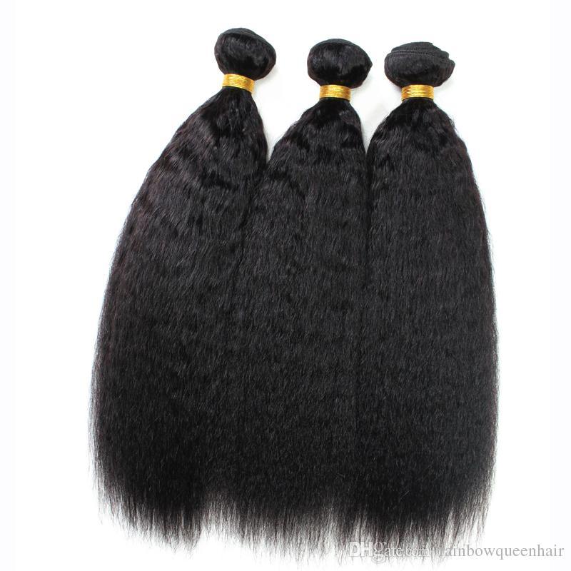 9A Malaysian Kinky Straight Hair Coarse Yaki Hair Wefts,Natural Black Afro Kinky Straight Weave Italian Yaki Human Hair Bundles