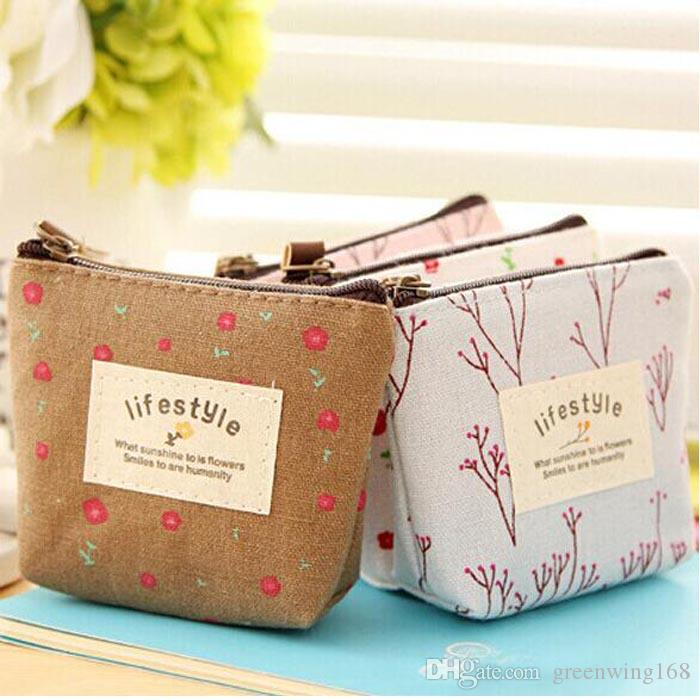 Popular Coin Bag Flower Women Coin Purses Fresh Syle Key Wallets Canvas Girls Gift Wallets Small Purse