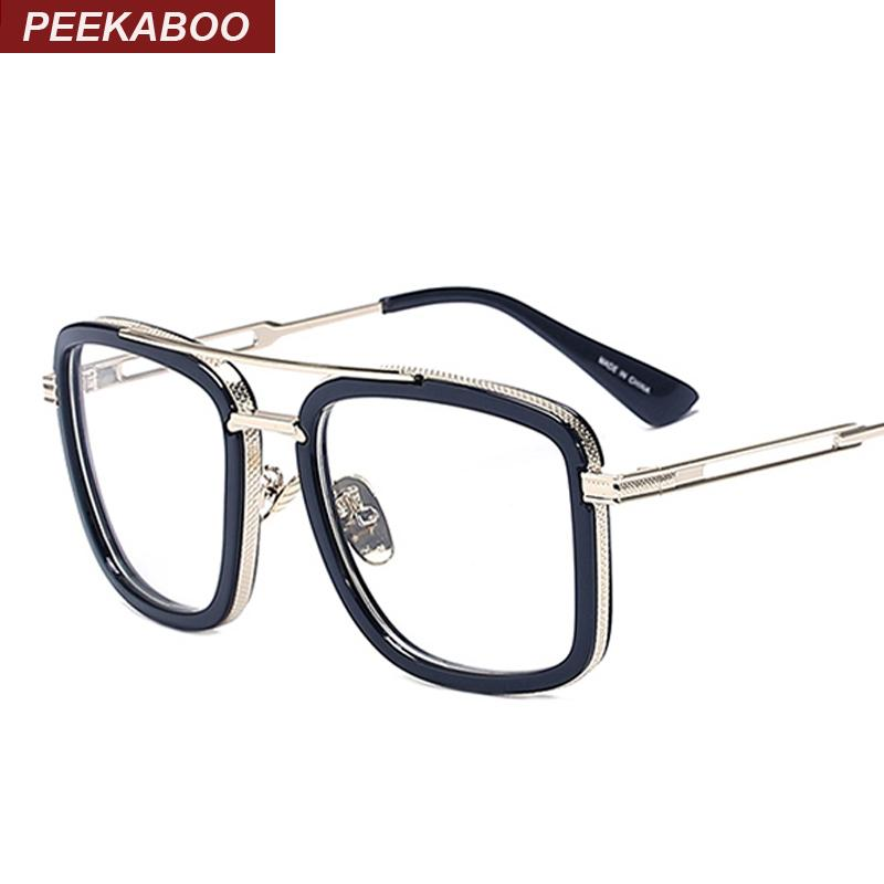 Wholesale- Peekaboo Brand Designer Big Square Glasses Frames for Men ...