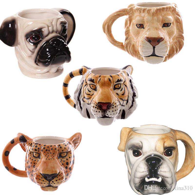 L'alta qualità creativa del fumetto animale personalità tazza di ceramica cani tazze Nizza Stereo Head Cup IC604