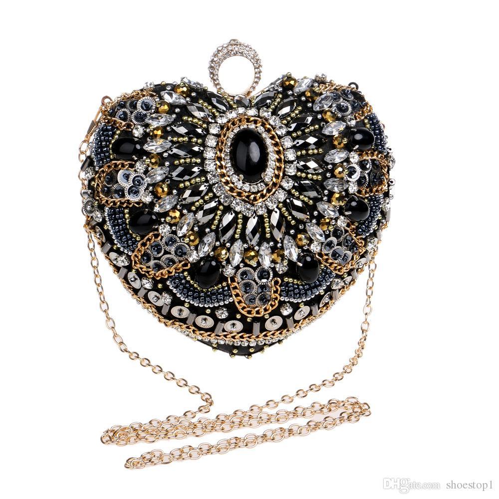 Sacs de soirée en forme de coeur doigt bague d'embrayage diamants sac à main perler embrayages chaîne Messenger Vintage perles sac de mariage strass
