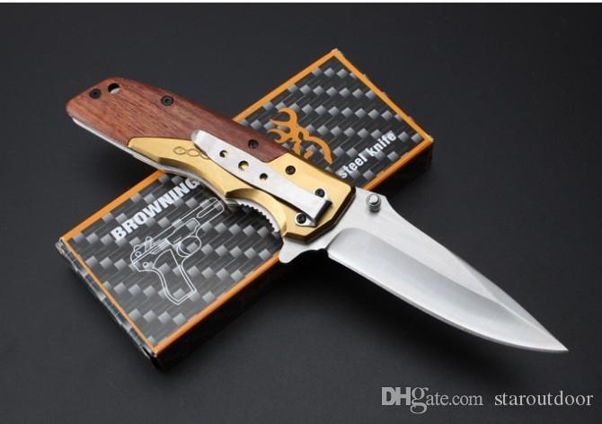 Browning DA77 Rapide Ouvert Couteau Tactique Pliant Poignée En Bois 5Cr15Mov 57HRC En Plein Air Randonnée Chasse Survie Poche Couteau Collection De Noël