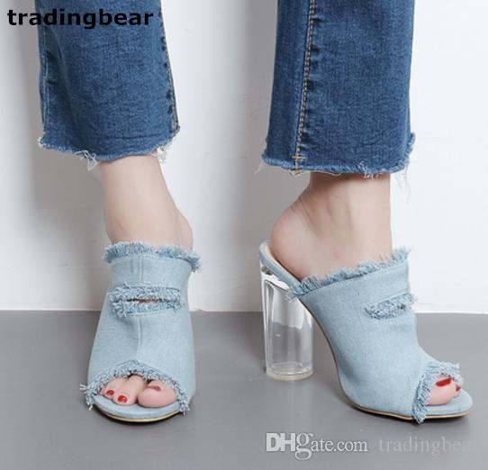 c9dddec2e833 Women Dress Sandal High Heels Blue Denim Fabric PVC Clear Chunky Heel  Slipper Size 35 To 40 Nude Wedges Bridal Shoes From Tradingbear