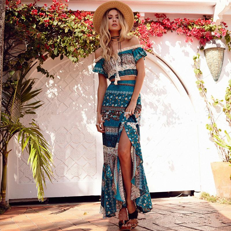 e53f9ec7e22 2019 Boho Floral Print Chiffon Split Long Dress Women Beach Summer V Neck  Kimono Sexy Dress Eleagnt Sash Wrap Maxi Dresses From Alicelife