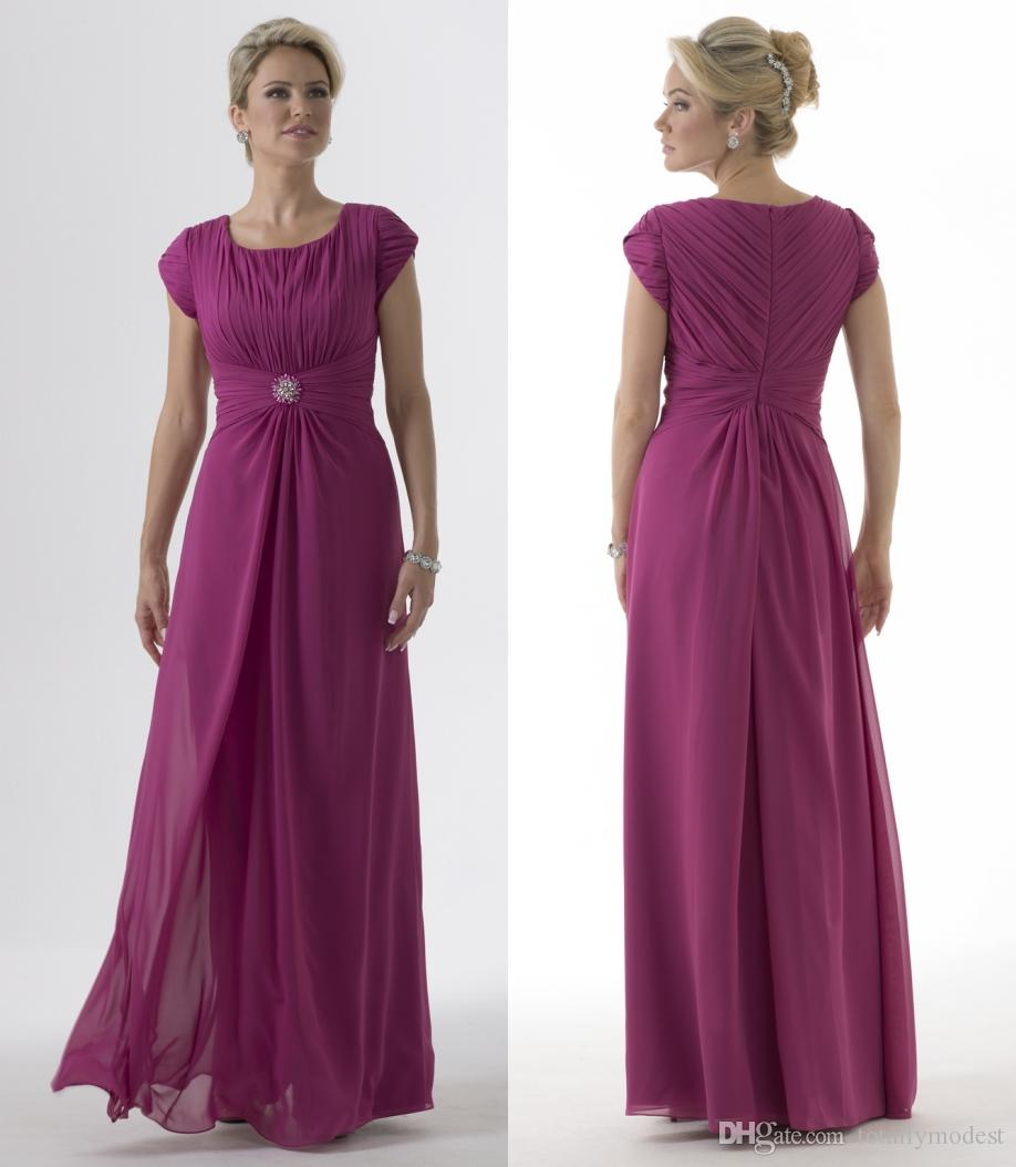 Purple chiffon long modest bridesmaid dresses 2017 with short purple chiffon long modest bridesmaid dresses 2017 with short sleeves pleats round neck floor length wedding party dresses custom made light purple ombrellifo Image collections