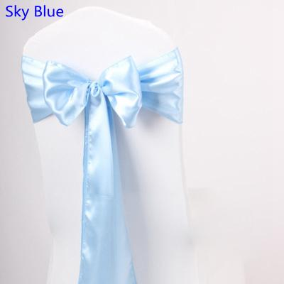 Sky Blue Colour satin sash chair high quality bow tie for chair covers sash party wedding hotel banquet home decoration wholesale