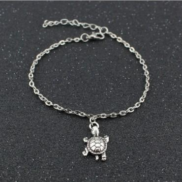 Cute Turtle Ankle Bracelets Boho Silver Tone Pendant Anklets Gothic Foot Chains Barefoot Beach Sandals For Womens