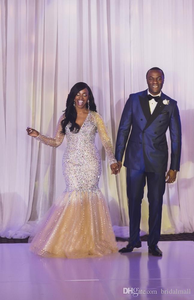 Abiti da sera africani maniche lunghe trasparenti con cristalli in rilievo 2020 Abiti da cerimonia convenzionali con scollo a V sexy Sexy Plus Size Abito da ballo lungo arabo